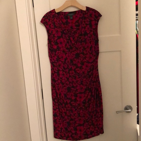 Lauren red floral ruched dress